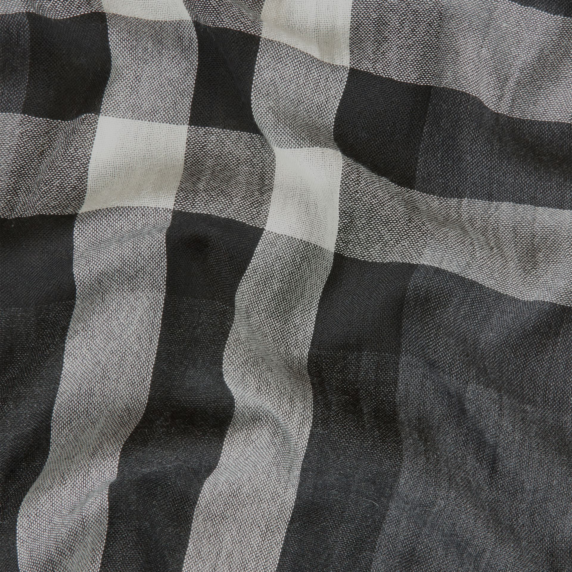 Lightweight Check Wool Cashmere Scarf in Charcoal - gallery image 2