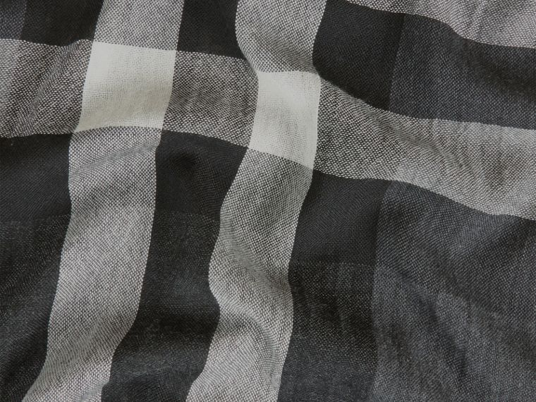 Lightweight Check Wool Cashmere Scarf in Charcoal - cell image 1