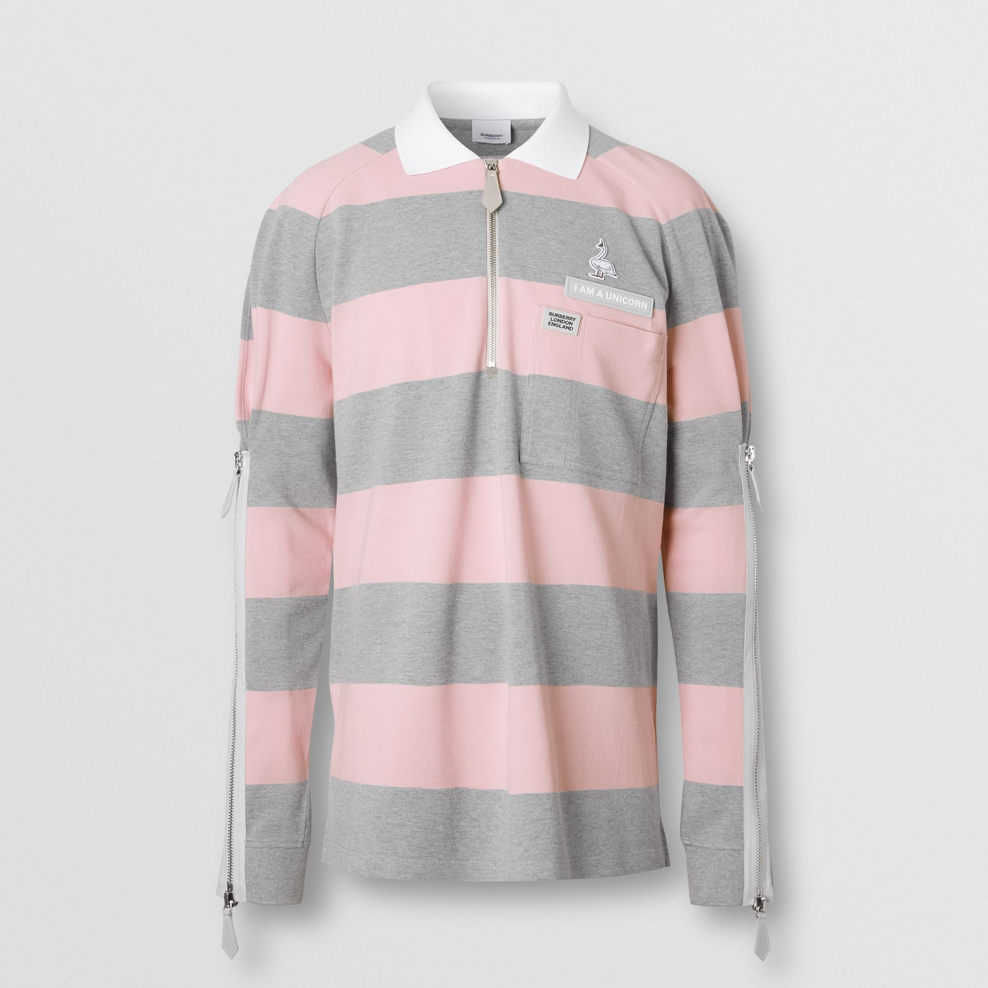 Long-sleeve Zip Detail Striped Cotton Polo Shirt in Pale Pink | Burberry - gallery image 3