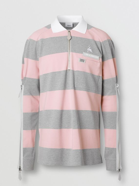 Long-sleeve Zip Detail Striped Cotton Polo Shirt in Pale Pink