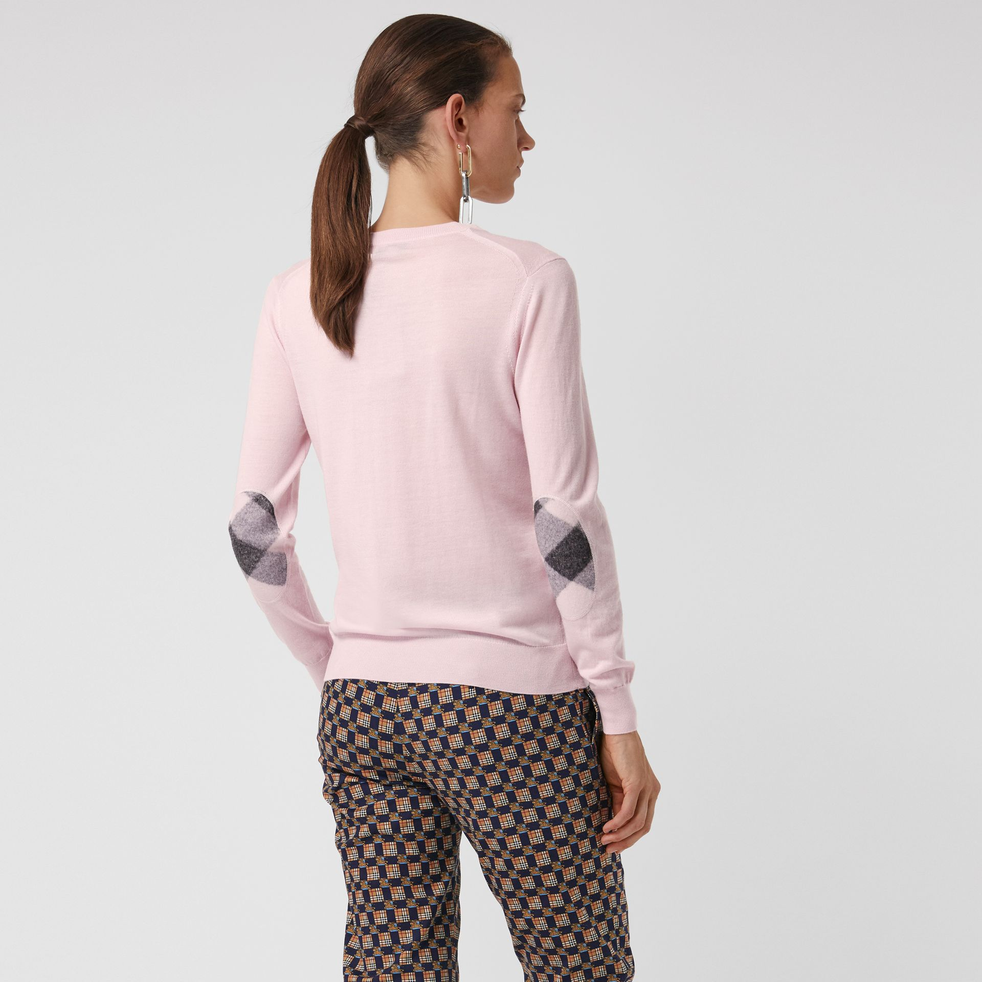 Check Elbow Detail Merino Wool Sweater in Light Pink - Women | Burberry Australia - gallery image 2