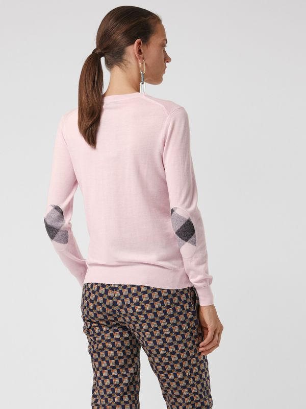 Check Elbow Detail Merino Wool Sweater in Light Pink - Women | Burberry United Kingdom - cell image 2
