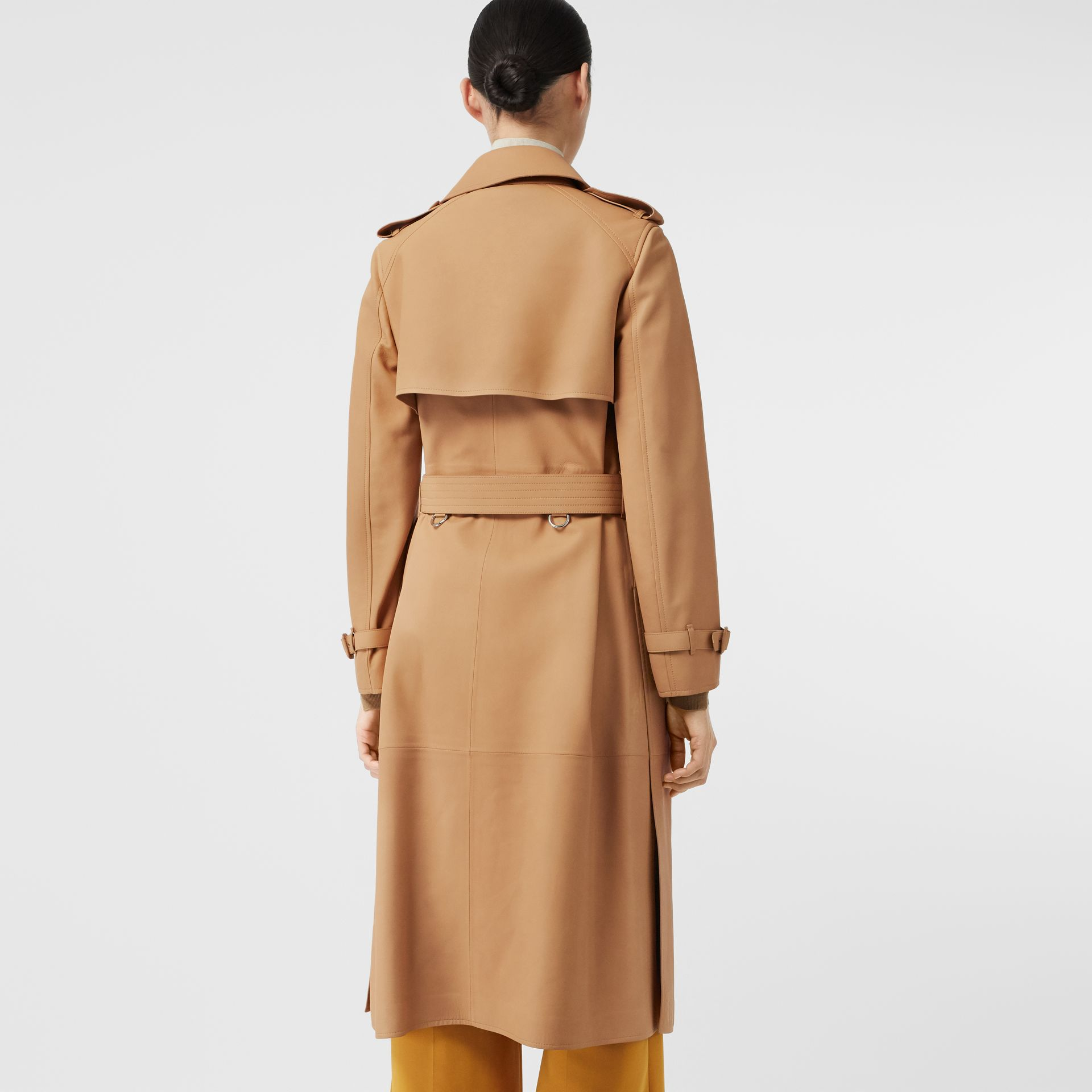 Lambskin Wrap Trench Coat in Caramel - Women | Burberry - gallery image 2