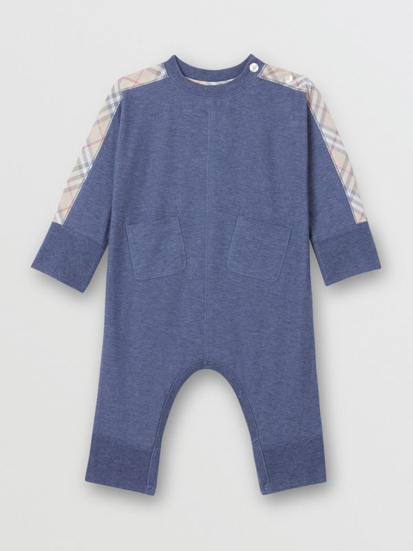 Check Cotton Three-piece Baby Gift Set in Slate Blue Melange - Children | Burberry United Kingdom - cell image 2
