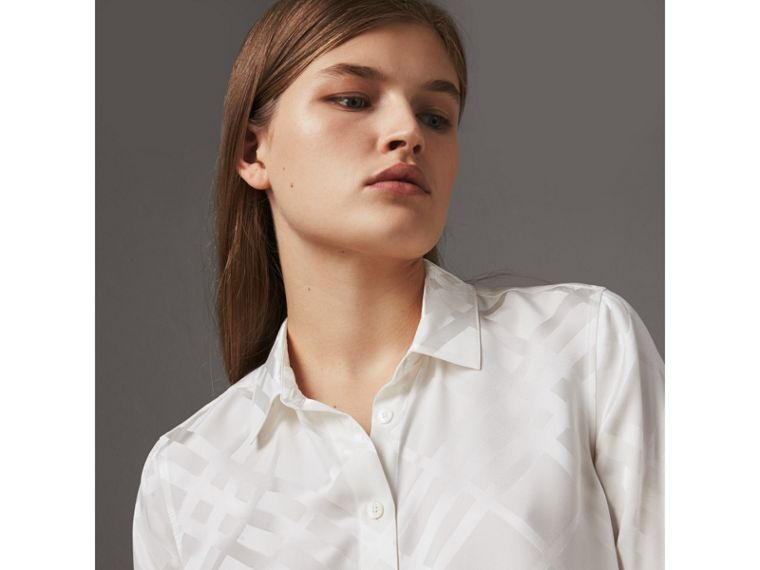 Tonal Check Silk Shirt in White - Women | Burberry - cell image 1
