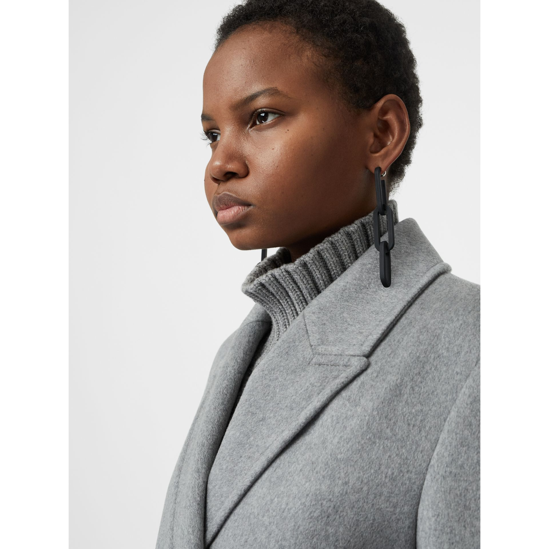 Rubberised Link Drop Earrings in Black - Women | Burberry Australia - gallery image 2