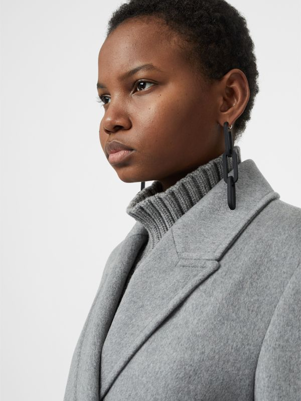 Rubberised Link Drop Earrings in Black - Women | Burberry Australia - cell image 2