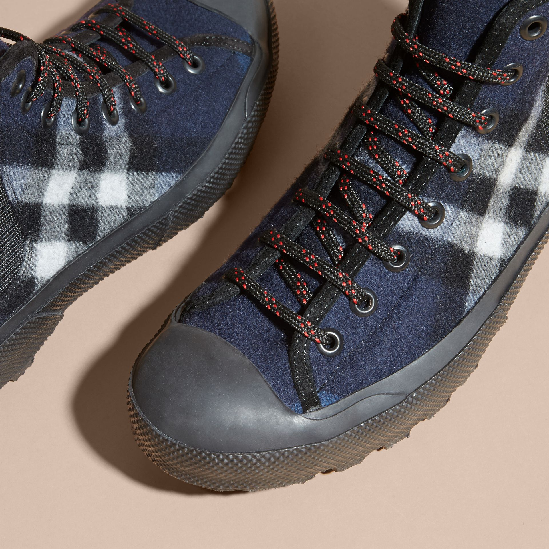 Dark indigo Check Technical Wool and Vulcanised Rubber Boots Dark Indigo - gallery image 3