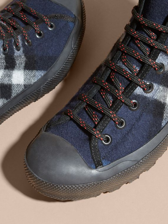 Dark indigo Check Technical Wool and Vulcanised Rubber Boots Dark Indigo - cell image 2