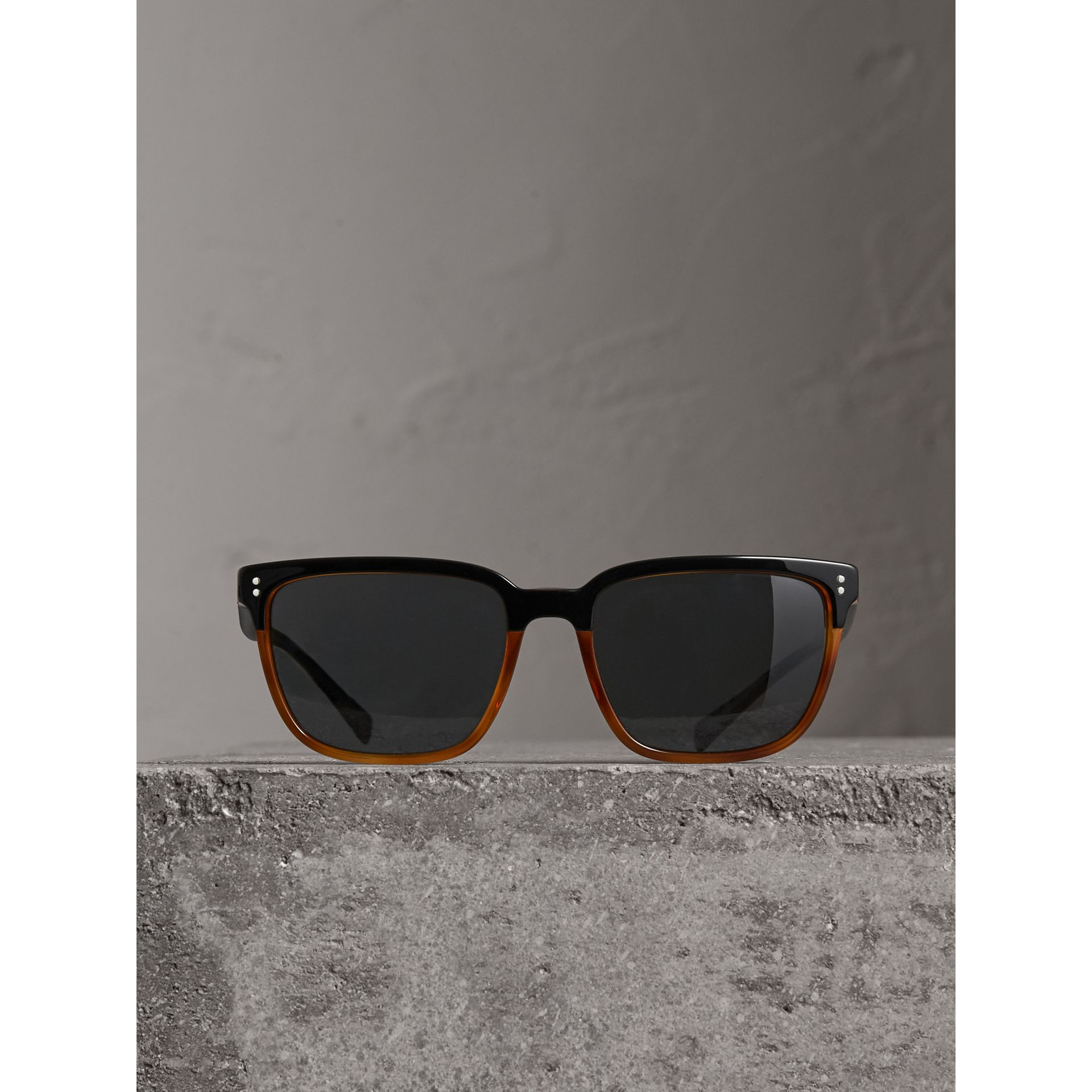 Square Frame Sunglasses in Light Brown - Men | Burberry Australia - gallery image 3