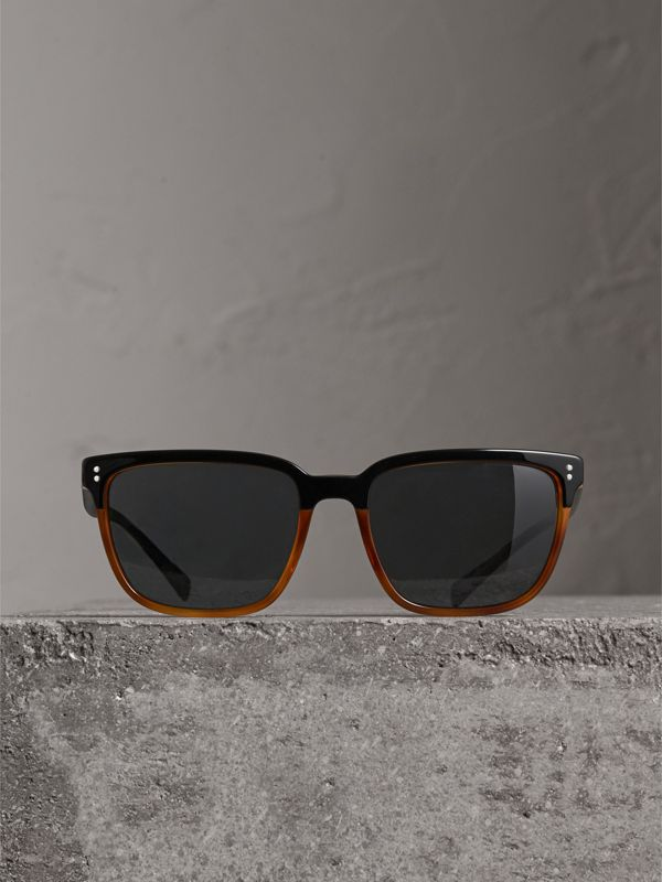 Square Frame Sunglasses in Light Brown - Men | Burberry - cell image 3