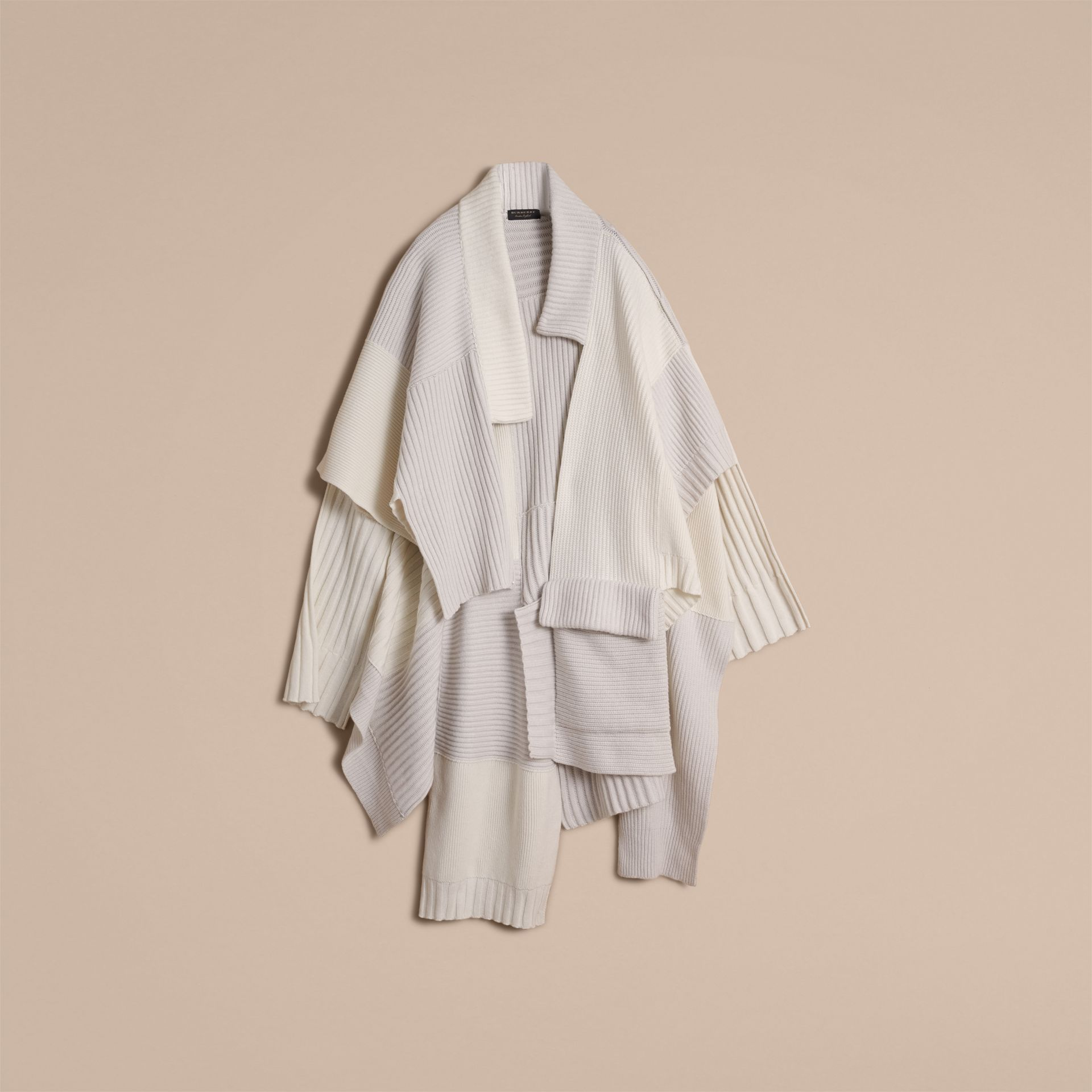 Wool Cashmere Patchwork Poncho in Natural White - Women | Burberry - gallery image 3