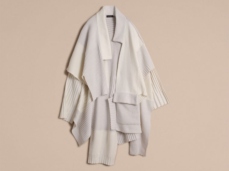 Wool Cashmere Patchwork Poncho in Natural White - Women | Burberry - cell image 2