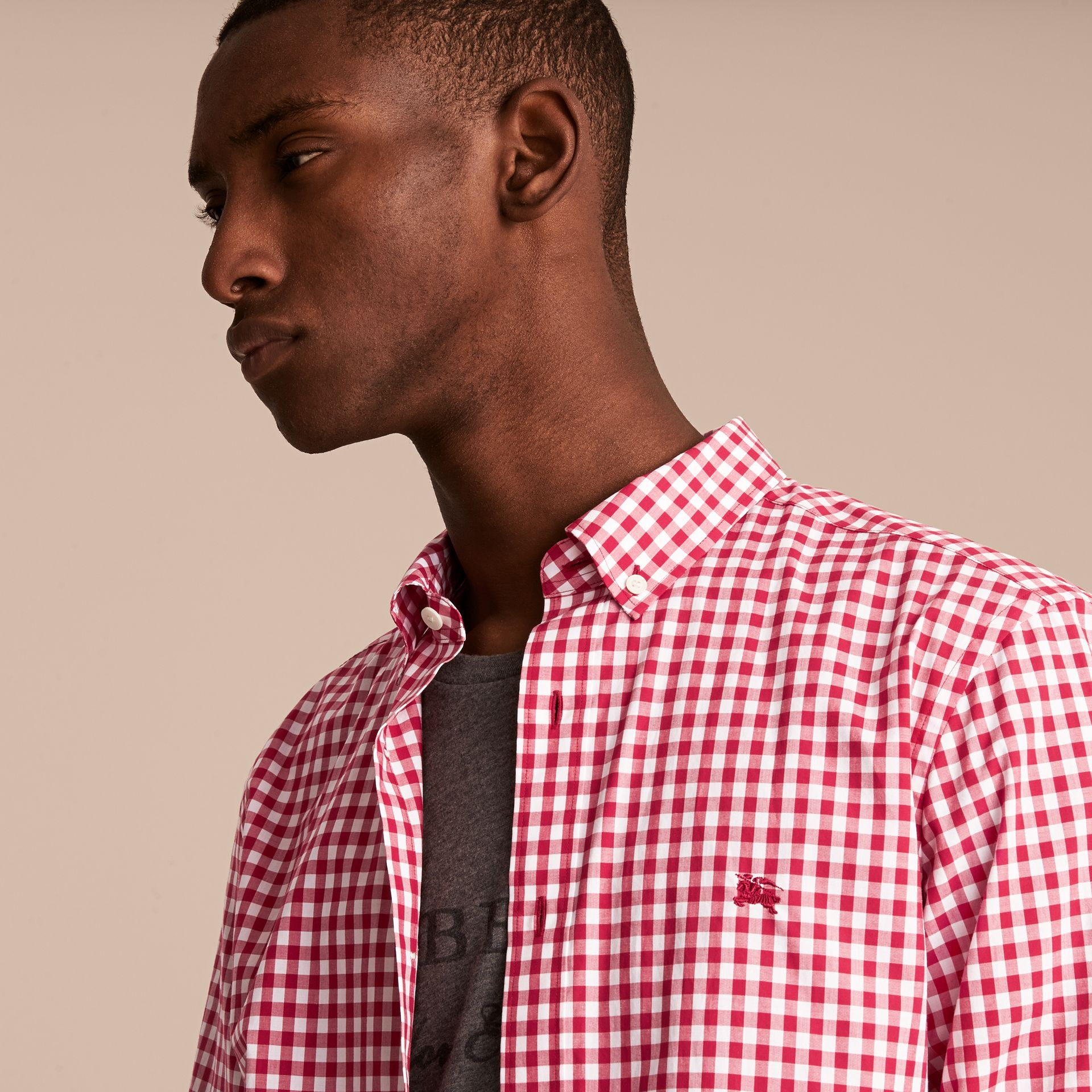 Button-down Collar Gingham Cotton Shirt Parade Red - gallery image 5
