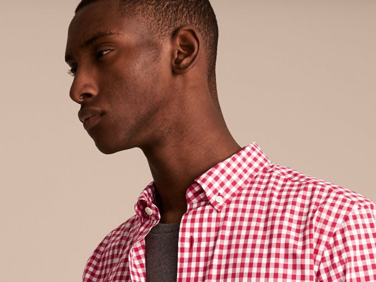 Button-down Collar Gingham Cotton Shirt Parade Red - cell image 4