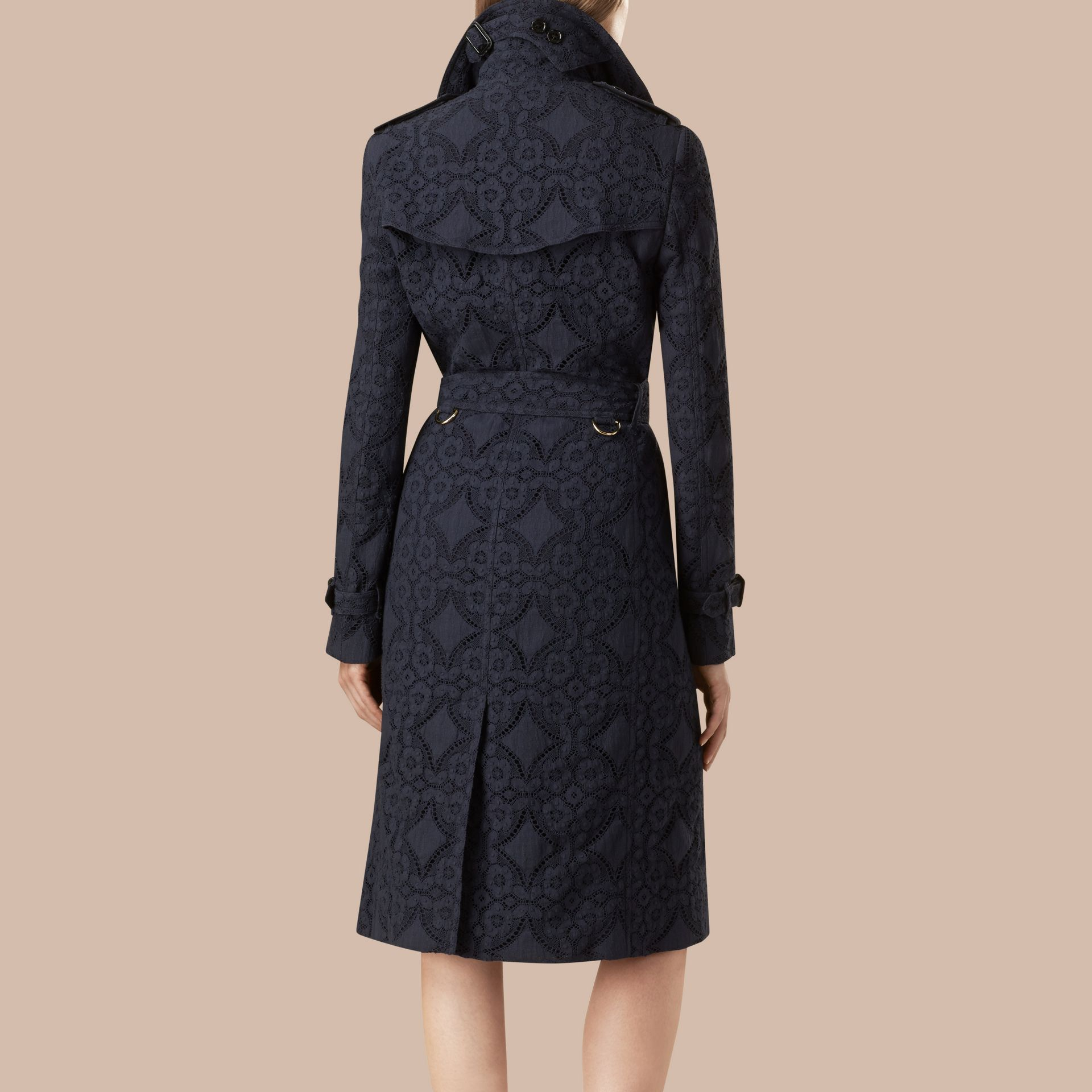 Ink Gabardine Lace Trench Coat Ink - gallery image 2
