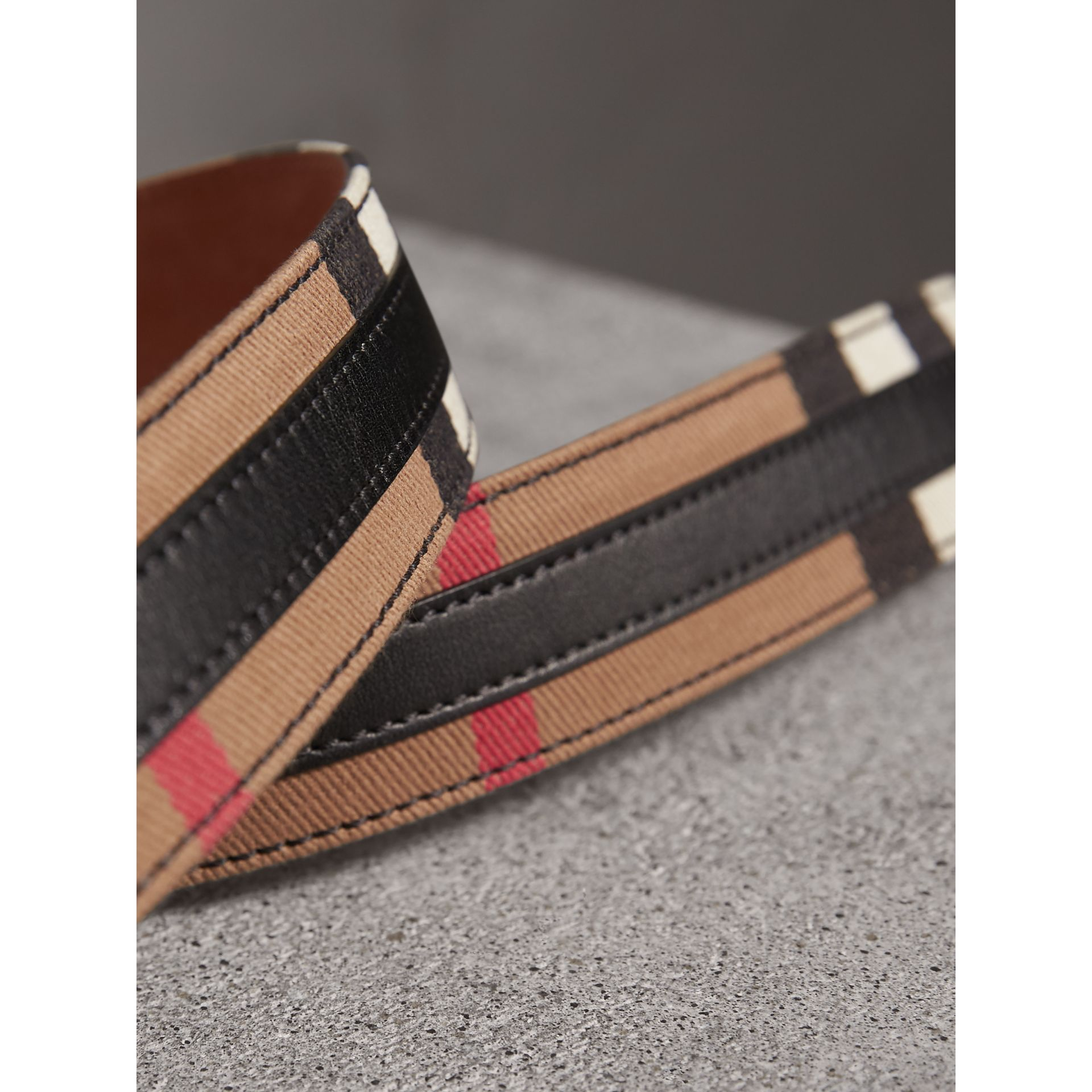 Topstitched House Check and Leather Belt in Black - Women | Burberry Australia - gallery image 1