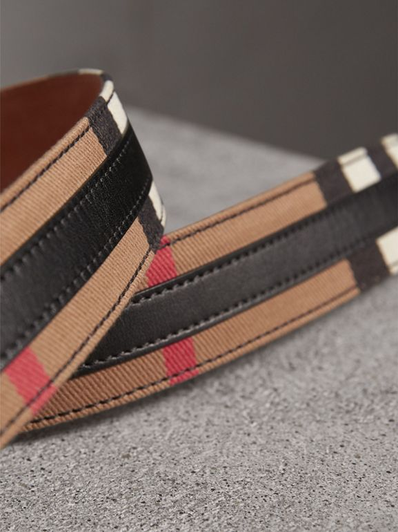 Topstitched House Check and Leather Belt in Black - Women | Burberry United Kingdom - cell image 1
