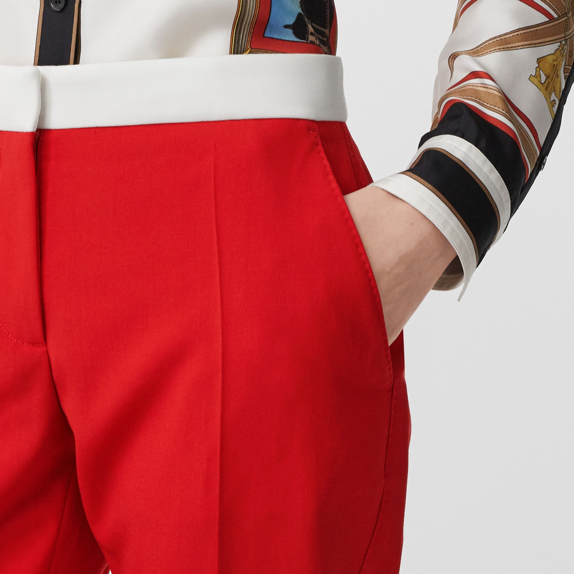 Two-tone Wool Tailored Trousers in Bright Red - Women | Burberry Hong Kong S.A.R - gallery image 1
