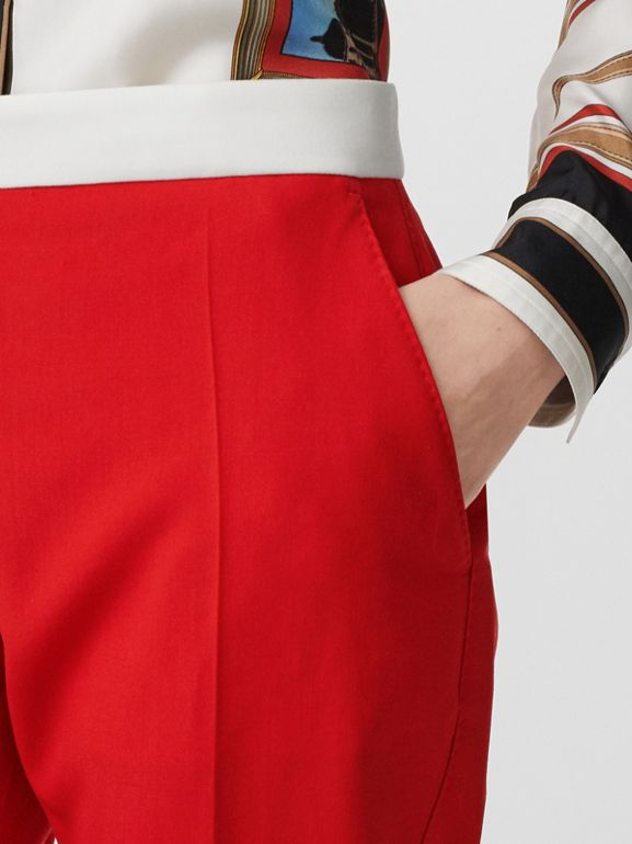 Two-tone Wool Tailored Trousers in Bright Red - Women | Burberry - cell image 1