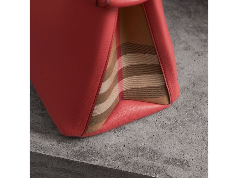 The Medium Banner in Leather and House Check in Cinnamon Red - Women | Burberry Australia - cell image 1