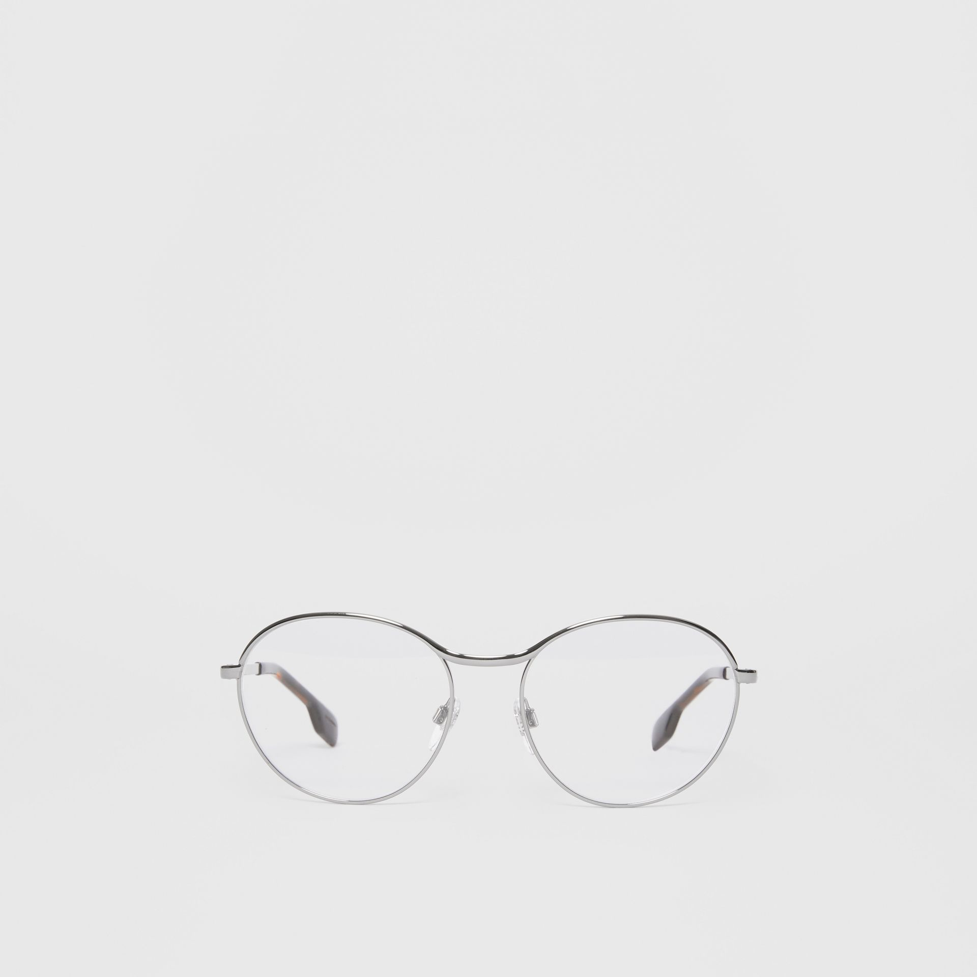 Round Optical Frames in Gunmetal Grey - Women | Burberry - gallery image 0