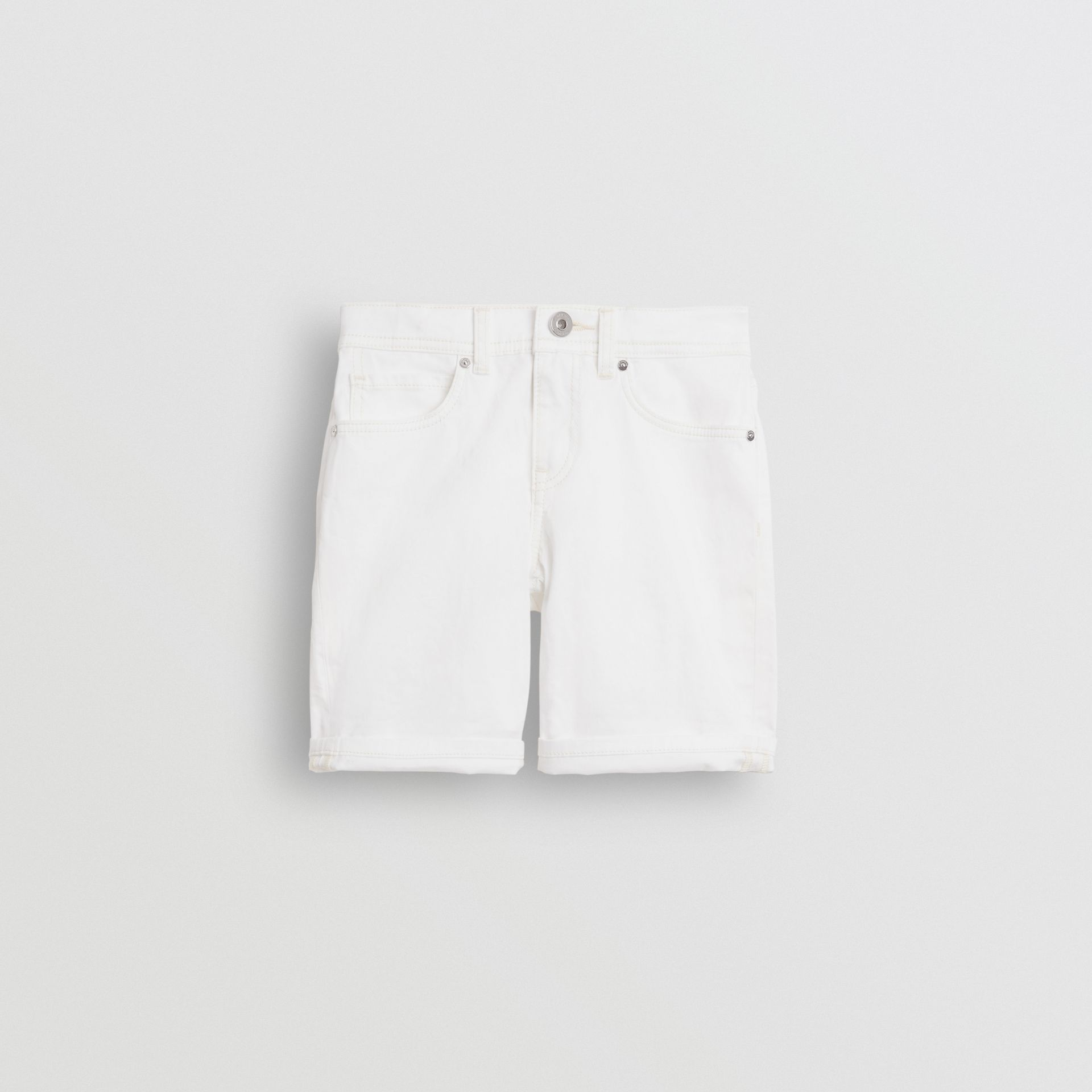 Relaxed Fit Stretch Denim Shorts in White - Girl | Burberry United Kingdom - gallery image 0