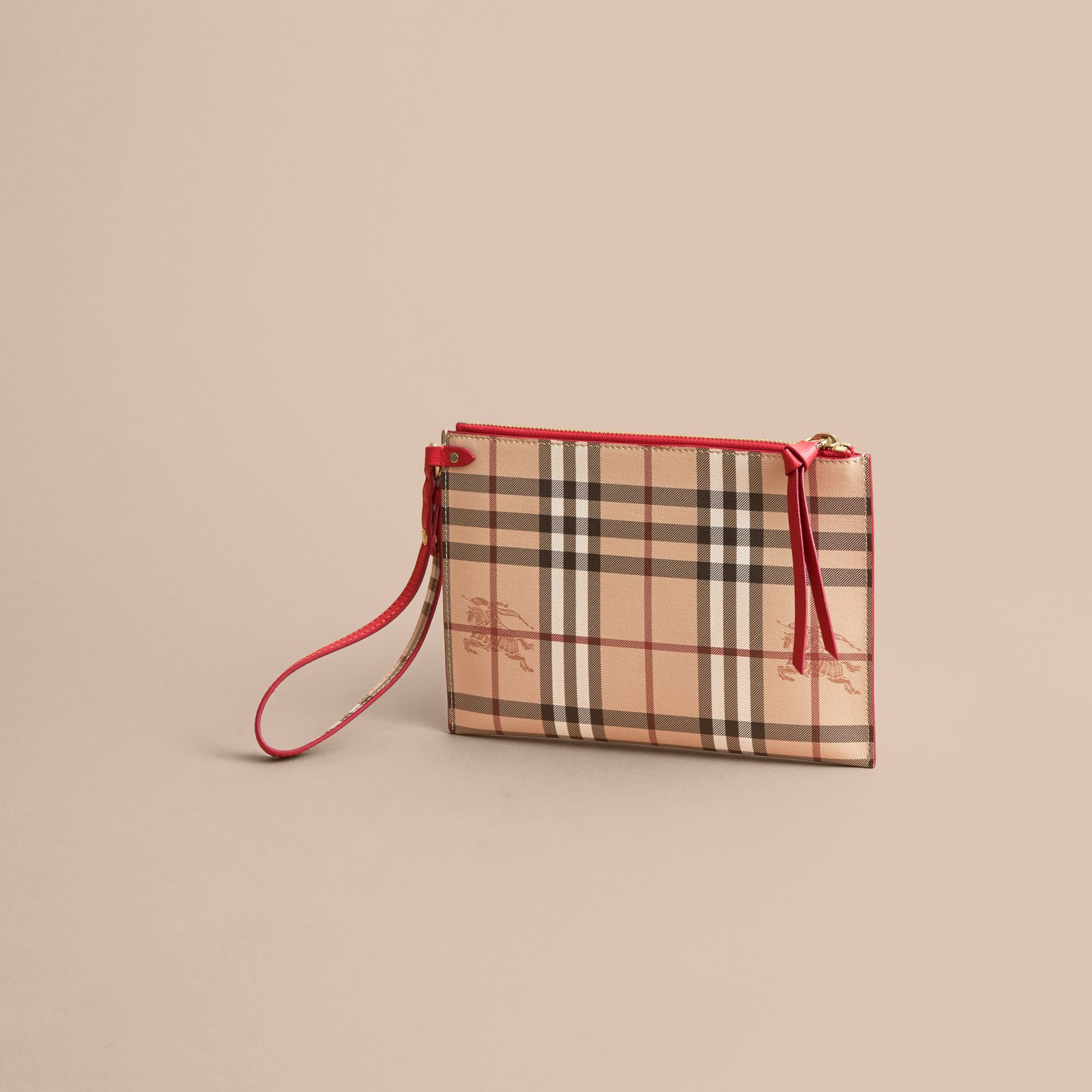 Haymarket Check and Leather Pouch - Women | Burberry Singapore - gallery image 4