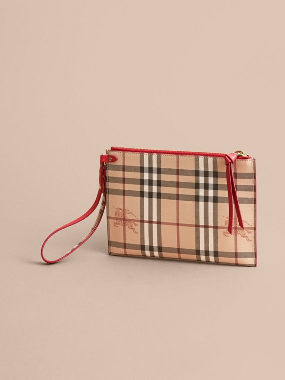 Haymarket Check and Leather Pouch - Women | Burberry - cell image 3