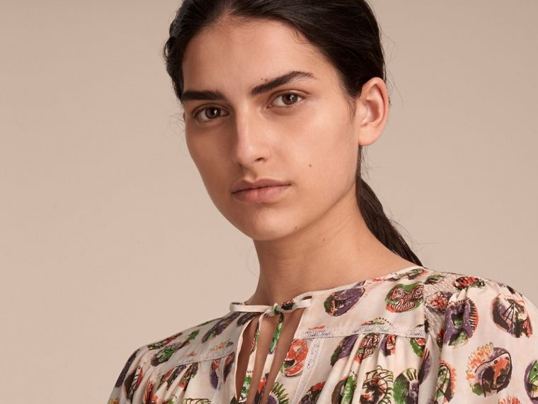 Pallas Heads Print Silk Dress with Neck Tie in Natural White - Women | Burberry United Kingdom - cell image 4