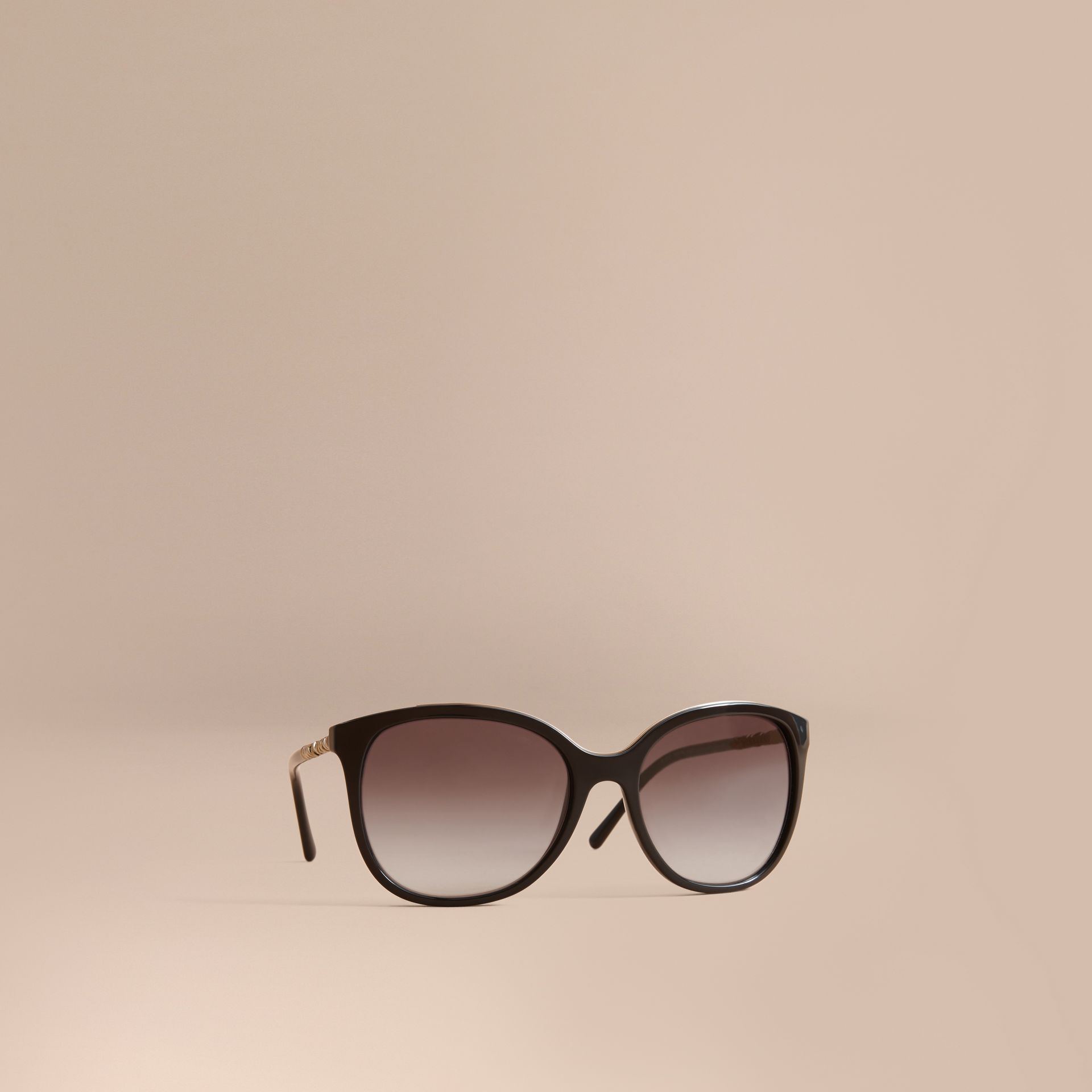 Check Detail Square Frame Sunglasses in Black - Women | Burberry - gallery image 1