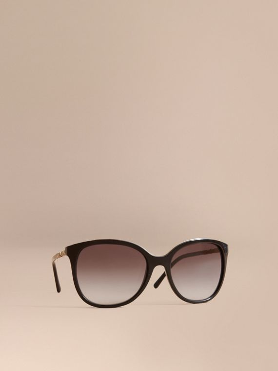 Check Detail Square Frame Sunglasses in Black - Women | Burberry Hong Kong
