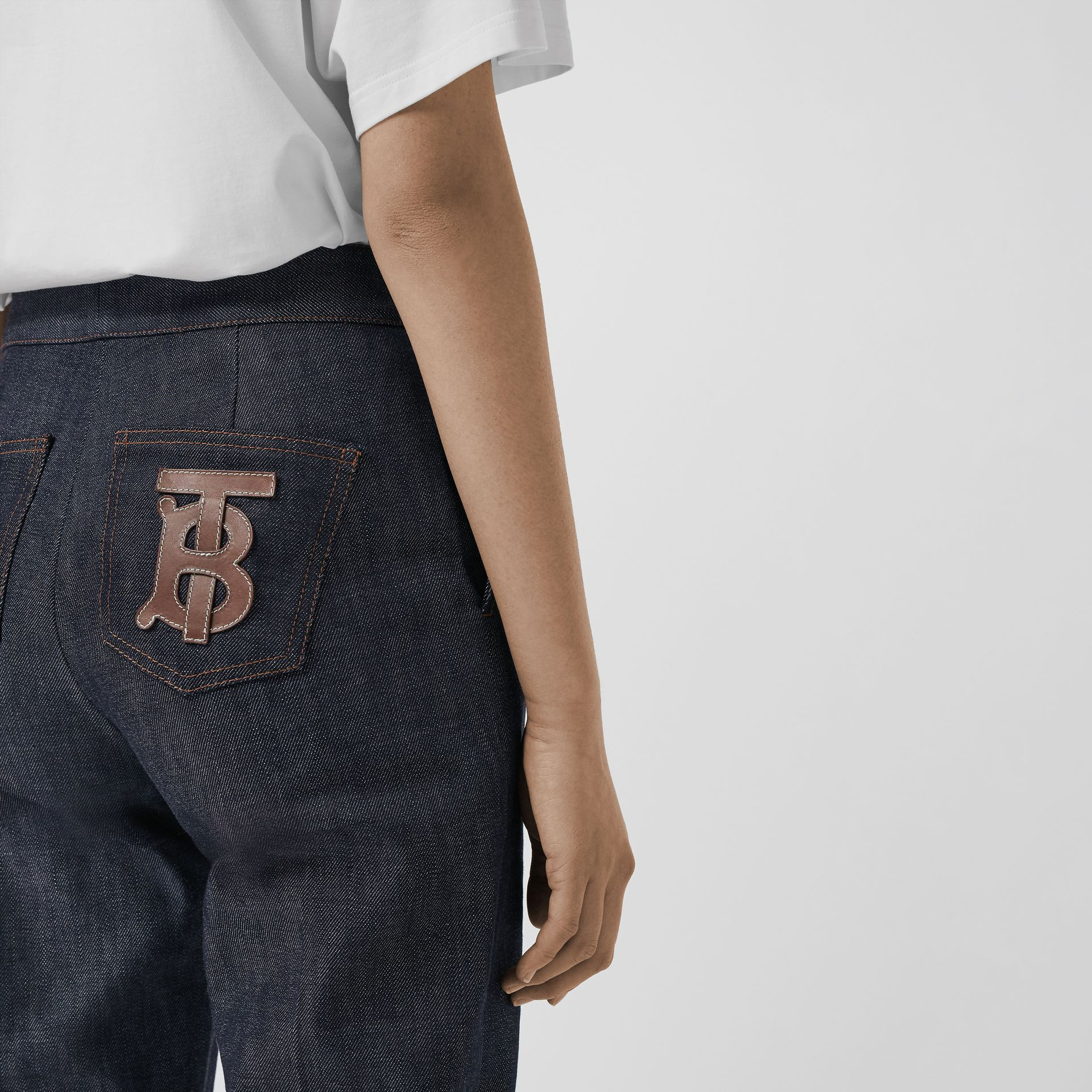 Straight Fit Monogram Motif Japanese Denim Jeans in Indigo - Women | Burberry - gallery image 1