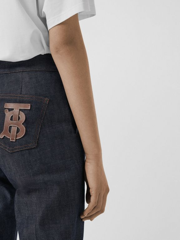 Straight Fit Monogram Motif Japanese Denim Jeans in Indigo - Women | Burberry - cell image 1