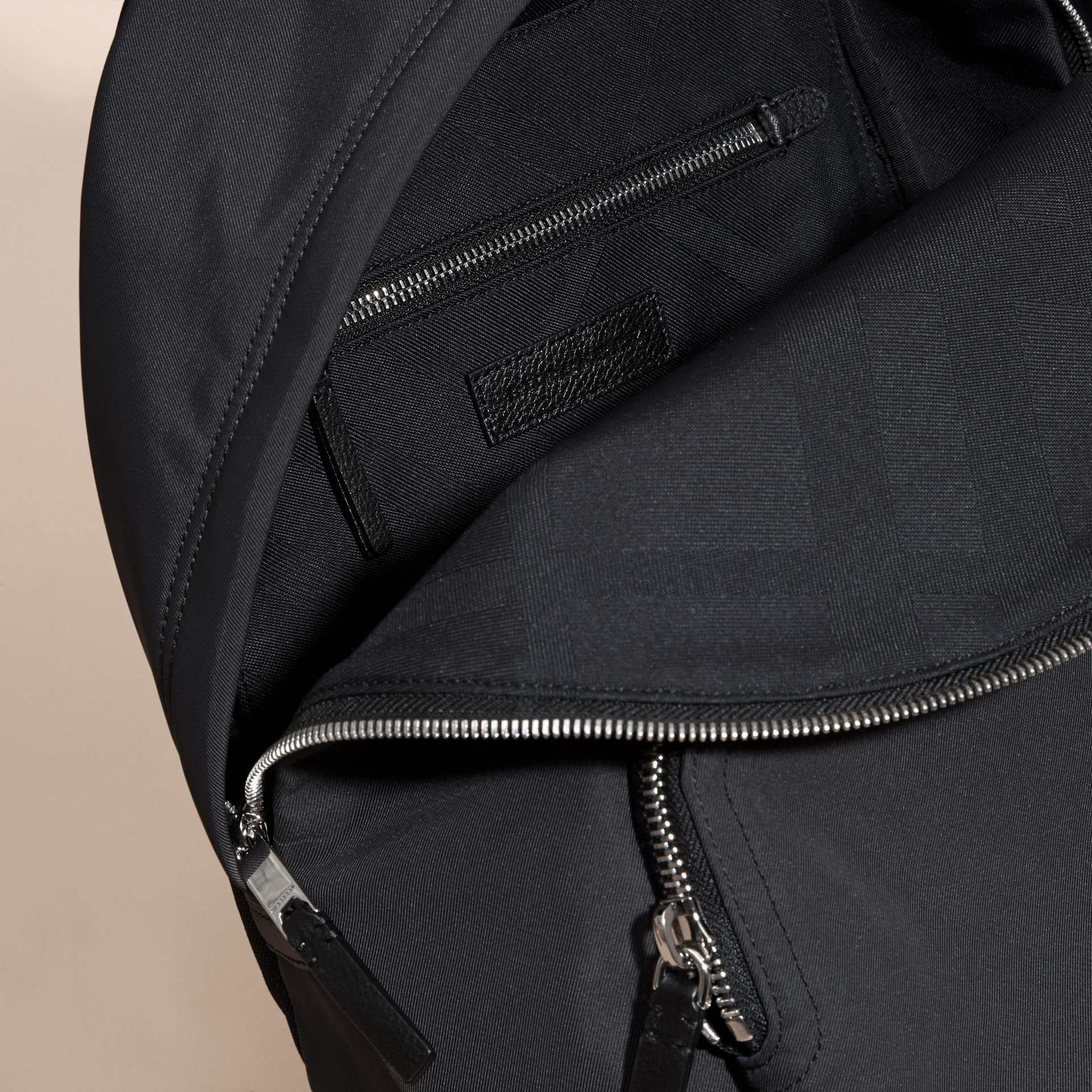 Leather Trim Technical Backpack Black - gallery image 5