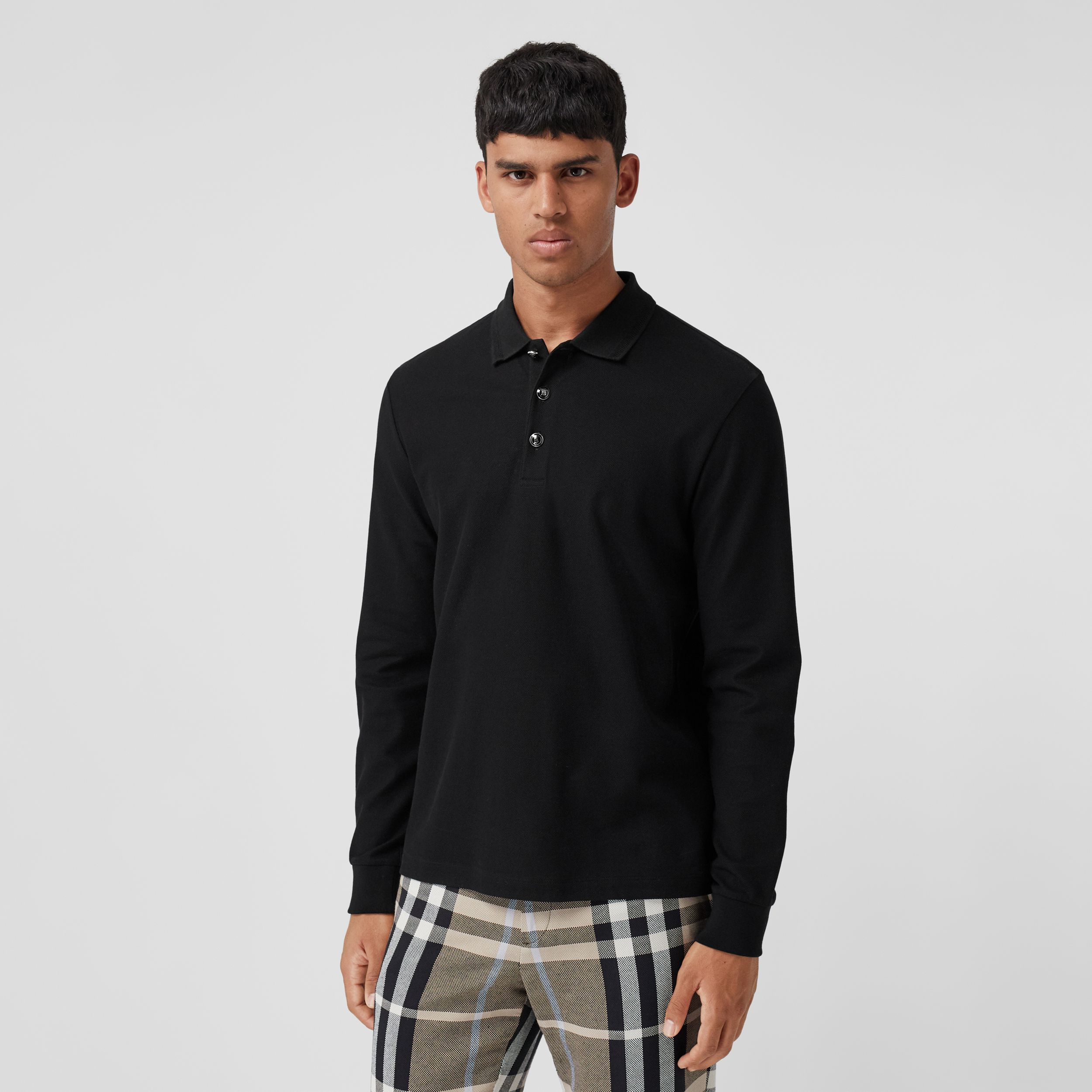 Long-sleeve Cotton Piqué Polo Shirt in Black - Men | Burberry Hong Kong S.A.R. - 1