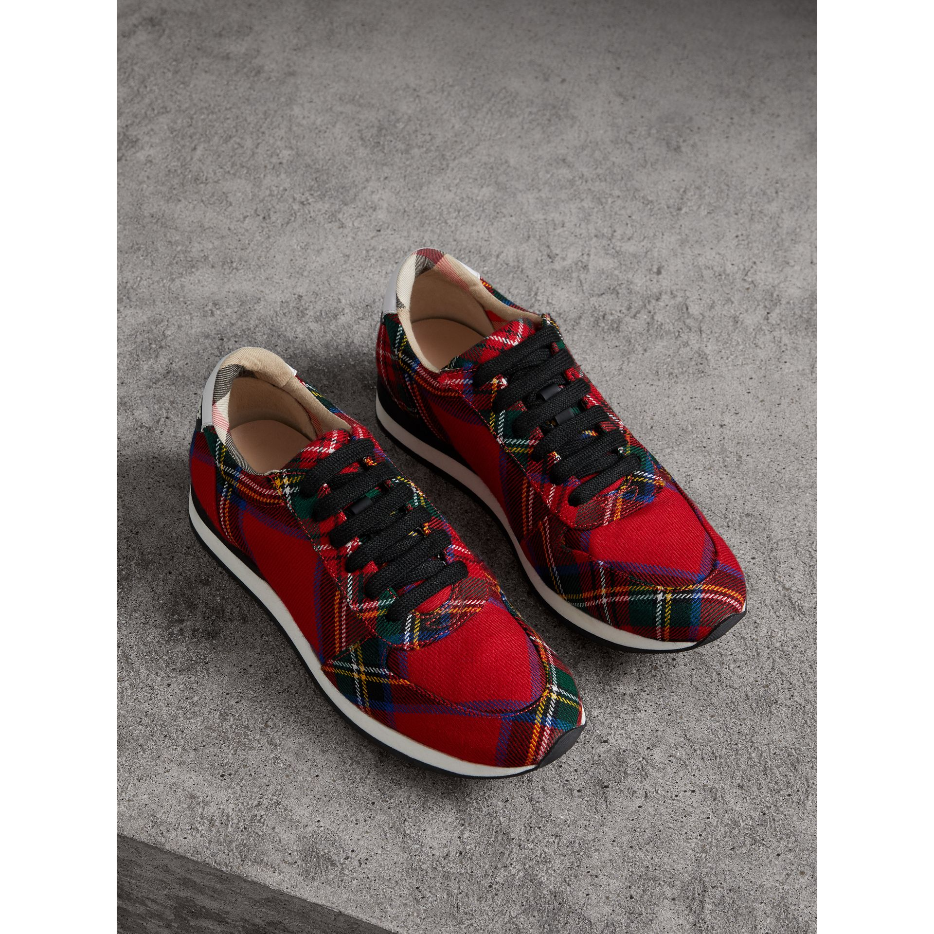 Tartan Wool Trainers in Bright Red - Women | Burberry - gallery image 1