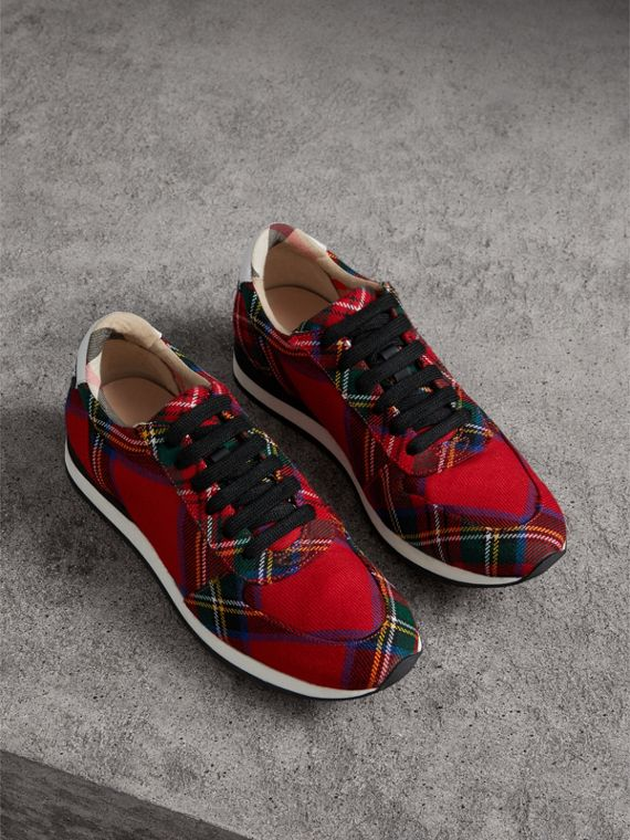 Tartan Wool Trainers in Bright Red