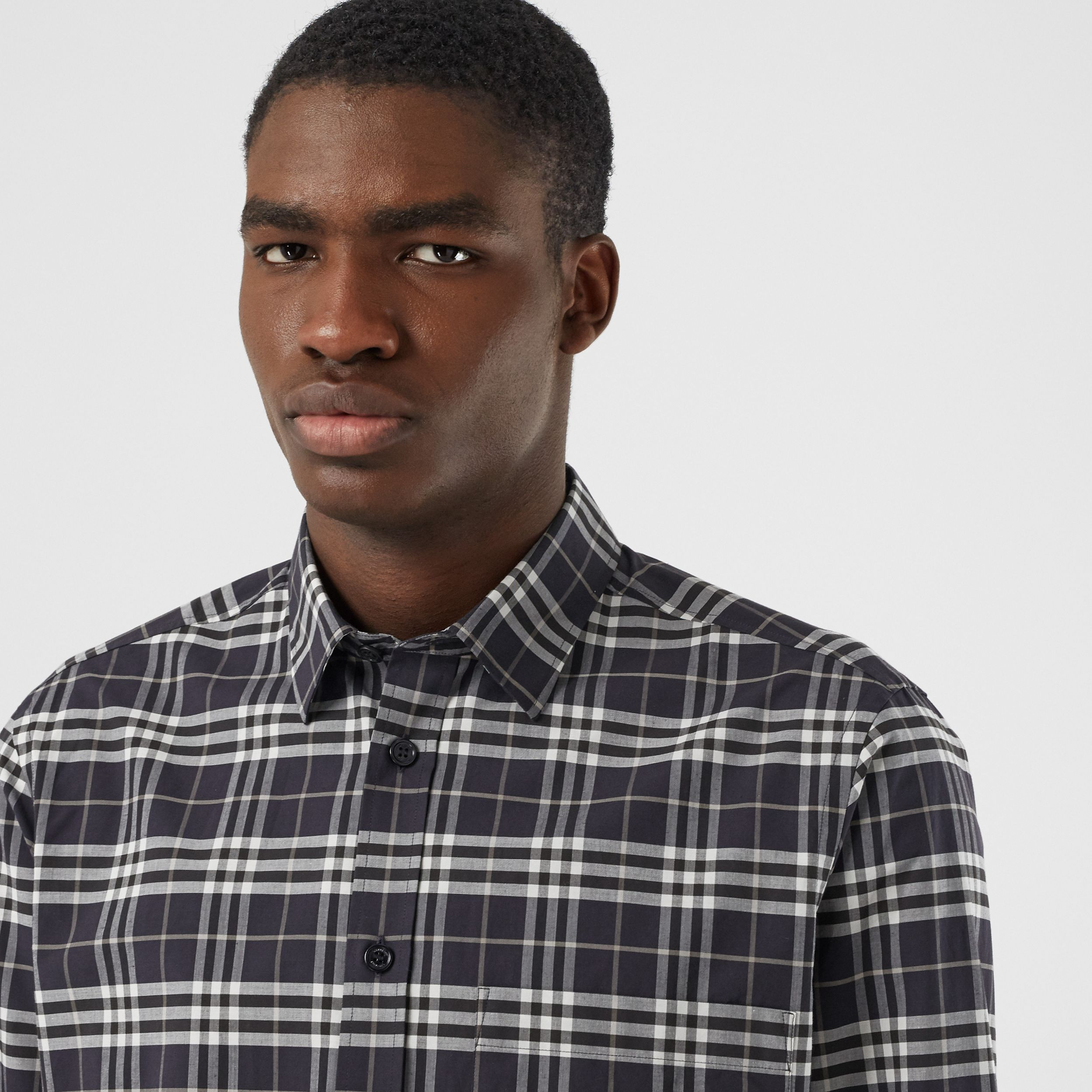 Small Scale Check Stretch Cotton Shirt in Dark Regency Blue - Men | Burberry - 2