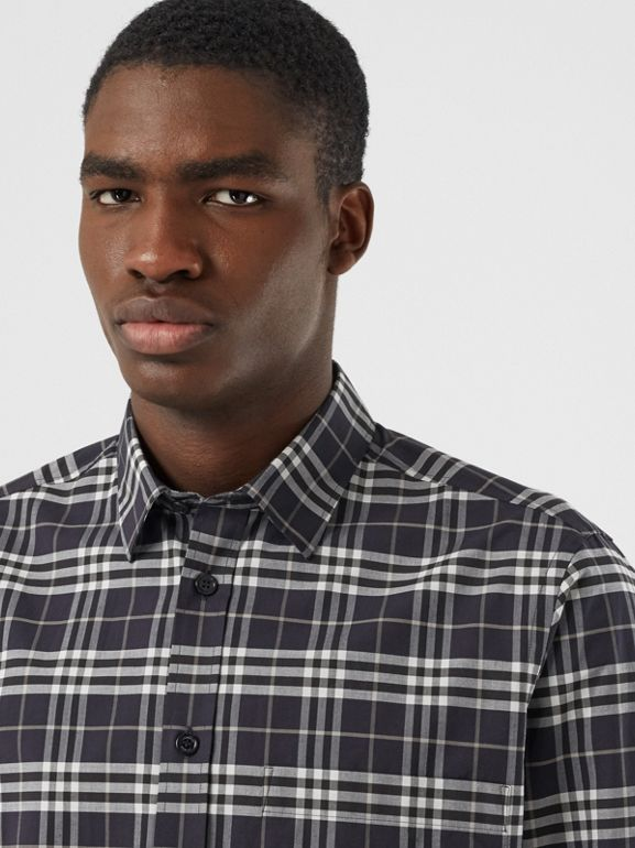 Small Scale Check Stretch Cotton Shirt in Dark Regency Blue - Men | Burberry Australia - cell image 1