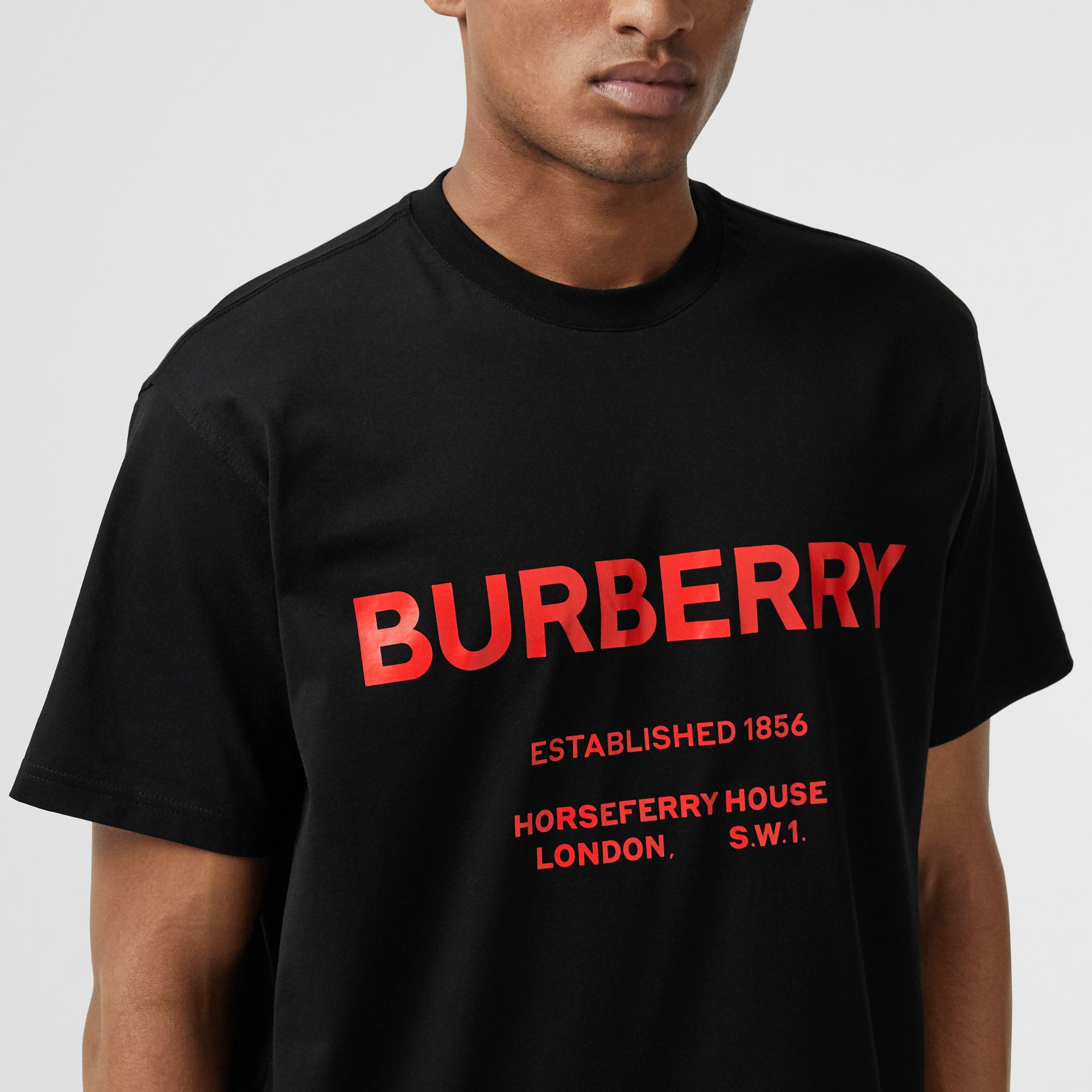 Horseferry Print Cotton T-shirt in Black - Men | Burberry Hong Kong - gallery image 1
