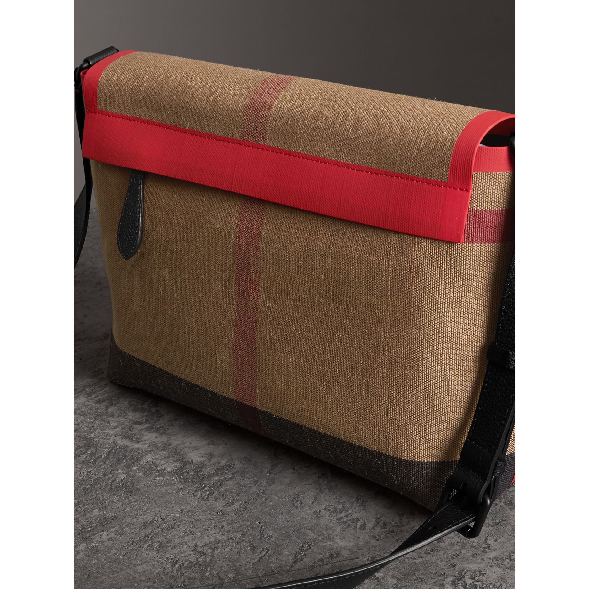 Medium Leather Trim Check Messenger Bag in Military Red | Burberry - gallery image 3