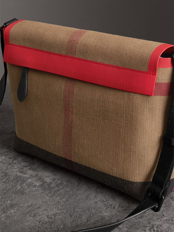 Medium Leather Trim Check Messenger Bag in Military Red | Burberry - cell image 3