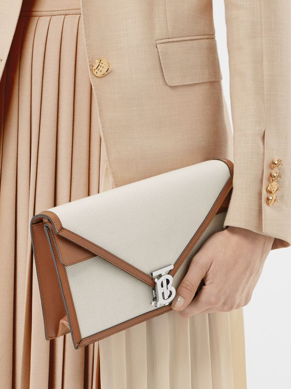 Small Canvas and Leather TB Envelope Clutch in Natural - Women | Burberry - cell image 2