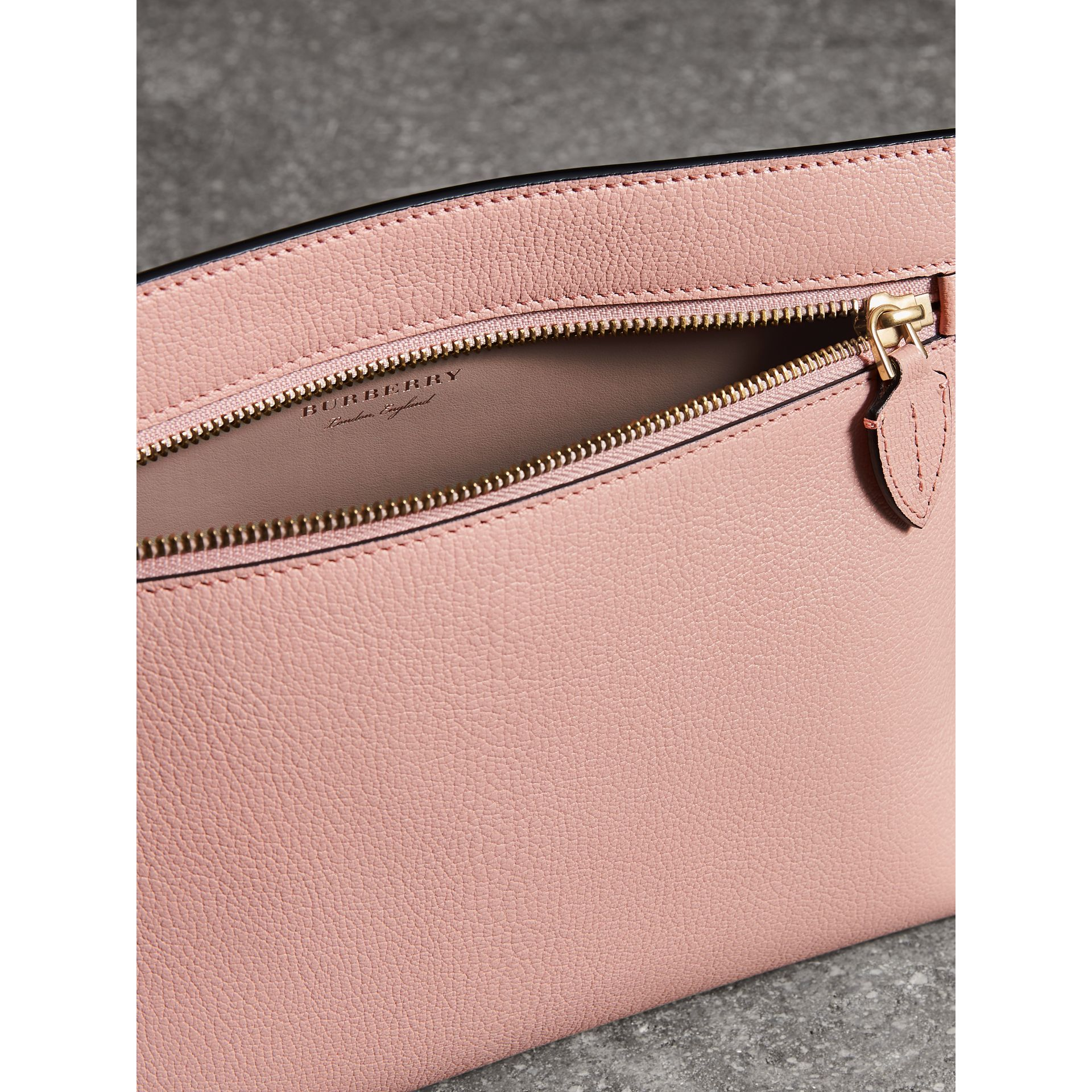 Grainy Leather Wristlet Clutch in Pale Ash Rose - Women | Burberry - gallery image 5