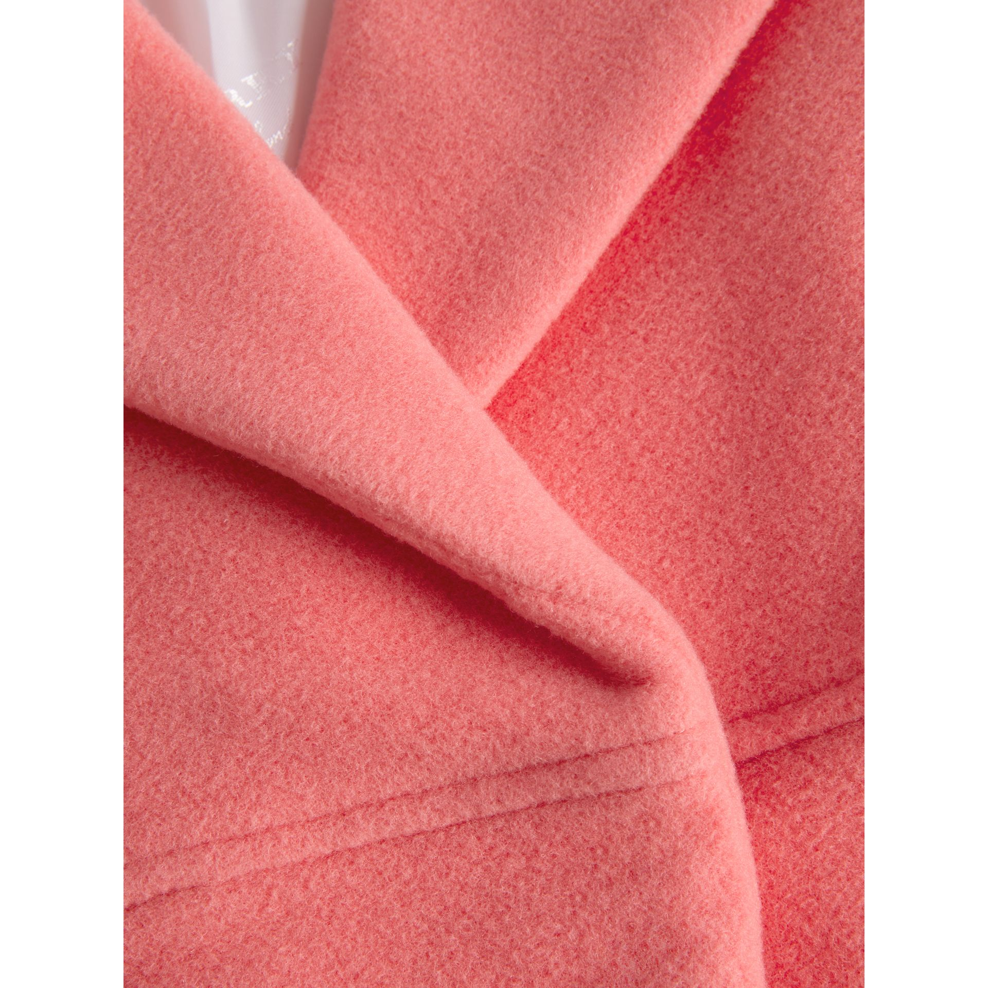 Boiled Wool Cocoon Coat in Bright Pink | Burberry Singapore - gallery image 5