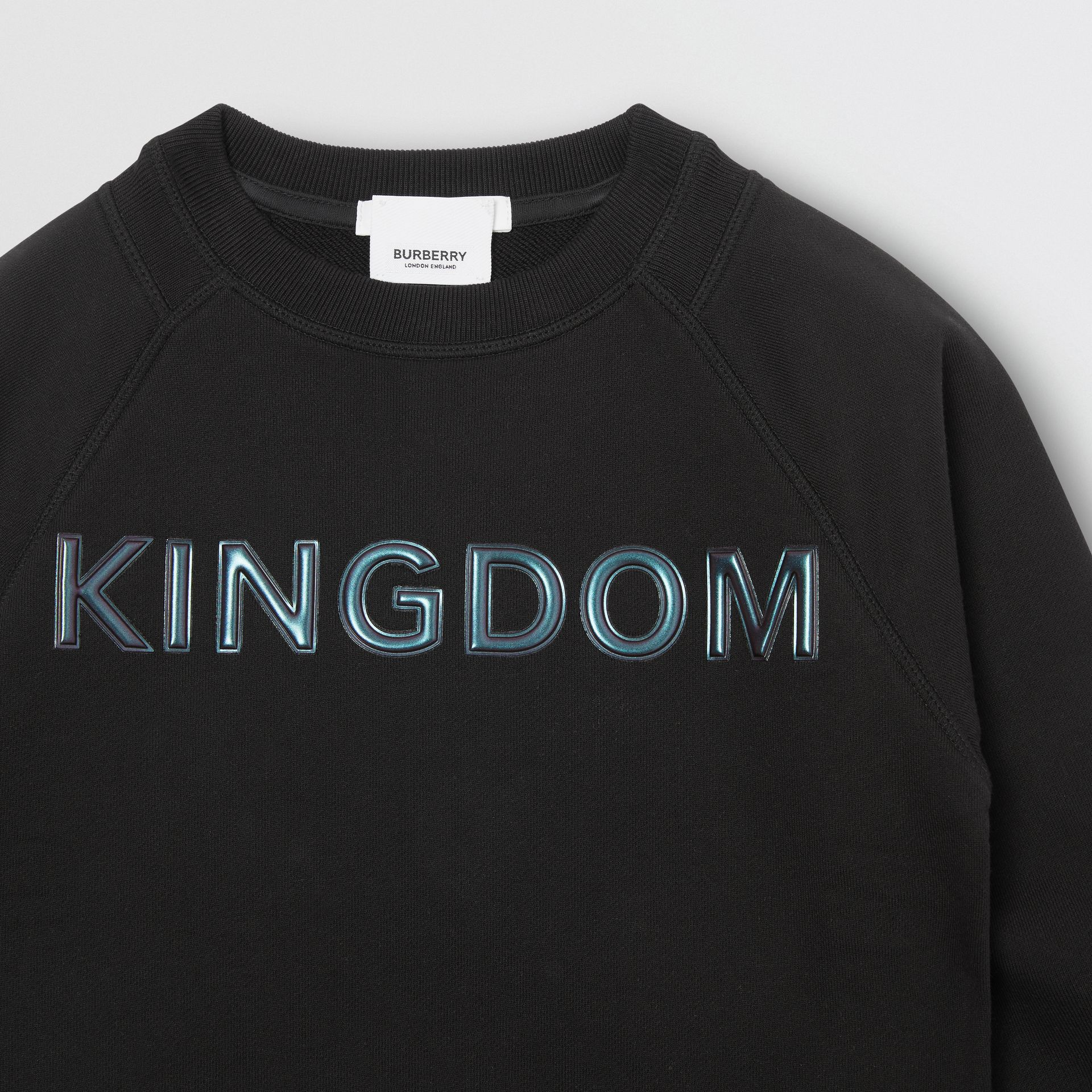 Kingdom Print Cotton Sweatshirt in Black | Burberry Australia - gallery image 4