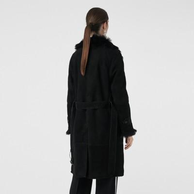 en Burberry Abrigo tres cuartos Mujer vellón Negro qFF48ngwE