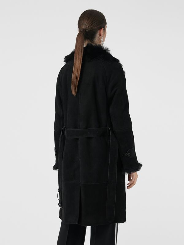 Shearling Car Coat in Black - Women | Burberry - cell image 2