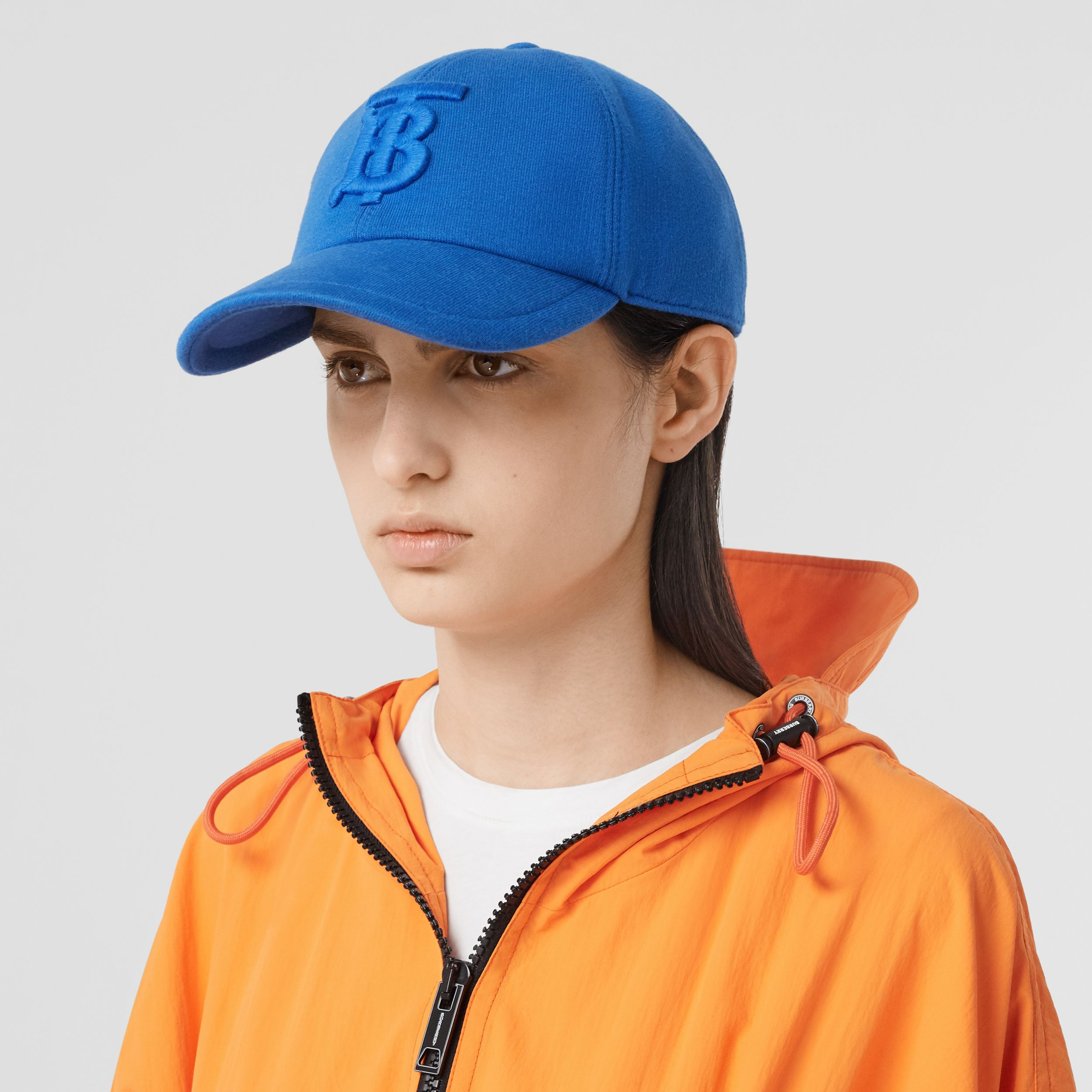 Monogram Motif Jersey Baseball Cap in Vibrant Blue | Burberry - 3
